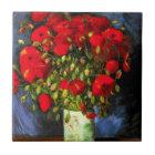 Van Gogh Vase With Red Poppies Tile
