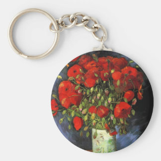 Van Gogh Vase with Red Poppies, Vintage Fine Art Basic Round Button Keychain