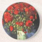 Van Gogh Vase with Red Poppies, Vintage Fine Art Coaster