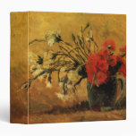 Van Gogh Vase with Red White Carnations on Yellow