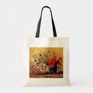 Van Gogh - Vase With Red & White Carnations Tote Bag
