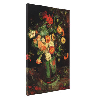 Van Gogh Vase with Zinnias and Geraniums Fine Art Canvas Print