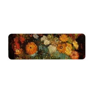 Van Gogh Vase with Zinnias Vintage Floral Fine Art Return Address Label