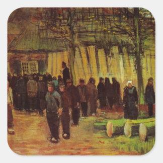 Van Gogh, vente de bois de charpente, art vintage Stickers Carrés