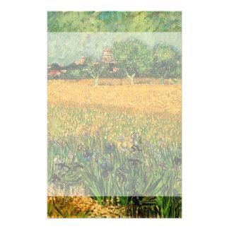 Van Gogh View of Arles w Irises, Vintage Fine Art Stationery