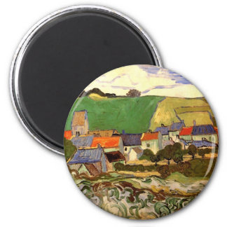 Van Gogh View of Auvers, Vintage Cottage Fine Art 2 Inch Round Magnet
