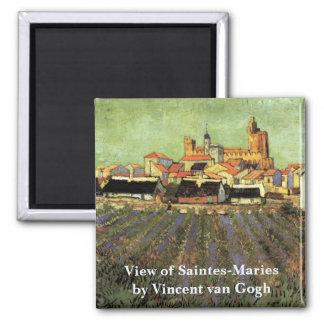 Van Gogh View of Saintes Maries, Vintage Fine Art Magnet