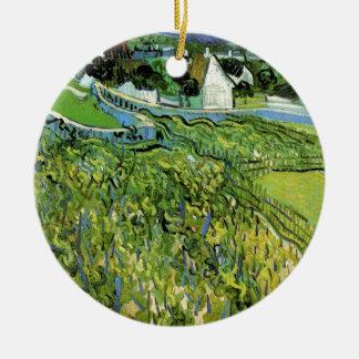 Van Gogh Vineyards with Auvers, Vintage Fine Art Round Ceramic Ornament