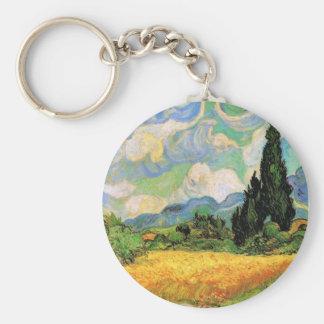 Van Gogh Wheat Field w Cypresses at Haute Galline Basic Round Button Keychain