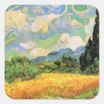 Van Gogh; Wheat Field w Cypresses at Haute Galline Square Sticker