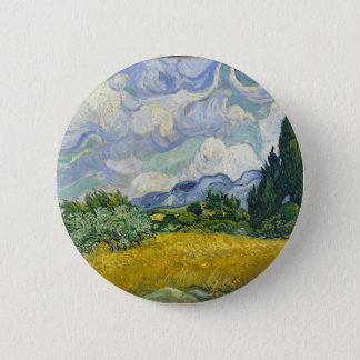 Van Gogh Wheat Field with Cypresses 2 Inch Round Button