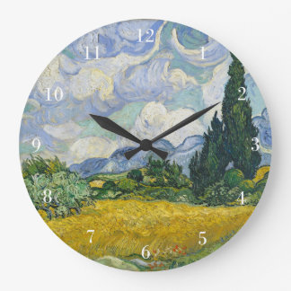 Van Gogh Wheat Field with Cypresses Large Clock