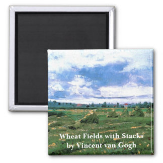 Van Gogh Wheat Fields with Haystacks, Fine Art Square Magnet