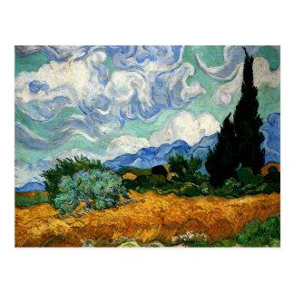 Van Gogh - Wheatfield with Cypress Tree Postcard