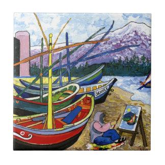 Van Gogh's Boats Ceramic Tile