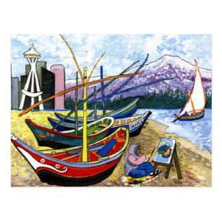 Van Gogh's Boats Postcard