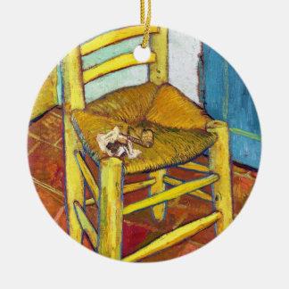 Van Gogh's Chair  Vincent van Gogh  fine art Round Ceramic Ornament