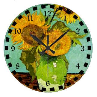 Van Gogh's Famous Painting, Sunflowers, 1888 Large Clock