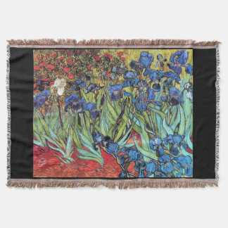 Van Goghs' Irises Flowers Throw Blanket