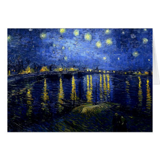 Van Gogh's painting, Starry Night over the Rhone Note Card