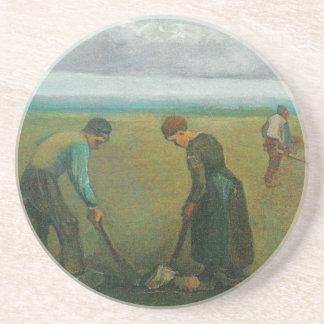 Van Gogh's Peasants or Farmers Planting Potatoes Beverage Coasters