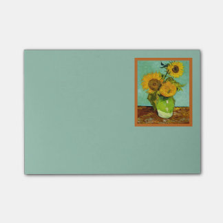 Van Gogh's Sunflowers on Pale Turquoise Background Post-it Notes
