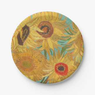 Van Gogh's Sunflowers Paper Plate