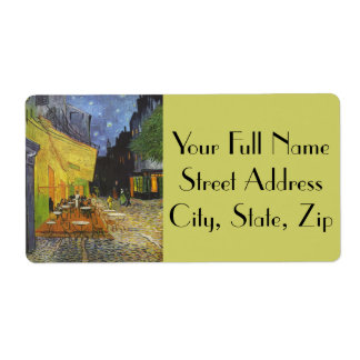 Van Gogh's Terrace Cafe Custom Shipping Label