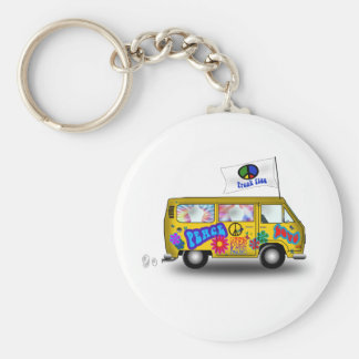 Van hippie magique porte-clé rond