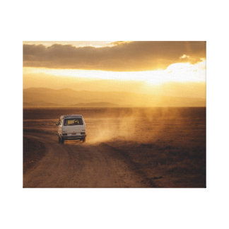 Van in the desert canvas print