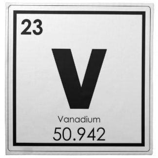 Vanadium chemical element symbol chemistry formula napkin