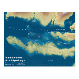 Vancouver Archipelago--Sea Rise Map Postcard
