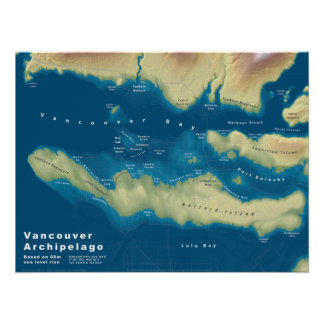 Vancouver Archipelago--Sea Rise Map Poster