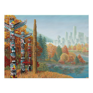 Vancouver Art Poster Vancouver Totem Pole Painting