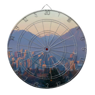 Vancouver BC Downtown Cityscape at Sunset Panorama Dartboard