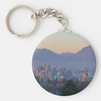 Vancouver BC Downtown Cityscape at Sunset Panorama Keychain