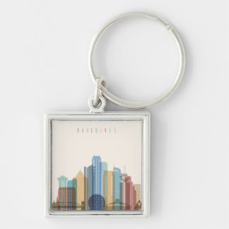 Vancouver, Canada | City Skyline Silver-Colored Square Keychain