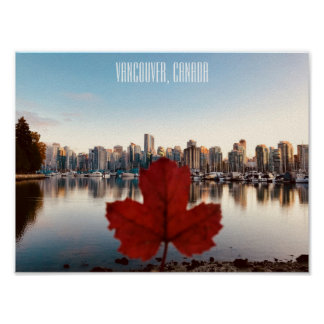 Vancouver Canada Red Maple Leaf Poster