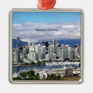 Vancouver Canada Skyline Metal Ornament
