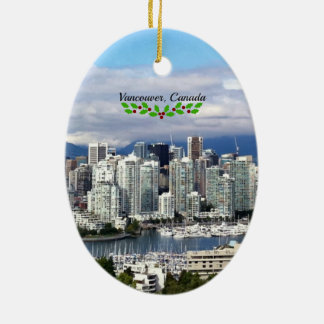 Vancouver, Canada Skyline with Christmas Holly Ceramic Ornament