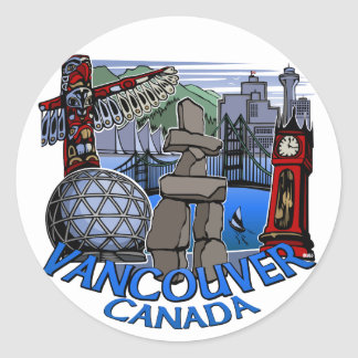 Vancouver Canada Stickers Totem Pole Landmark Art
