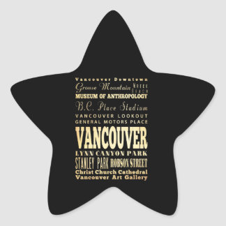Vancouver City of Canada Typography Art Star Sticker