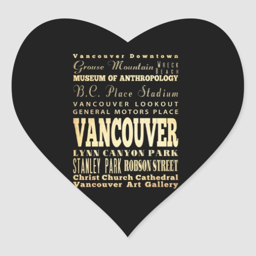 Vancouver City of Canada Typography Art Stickers