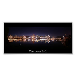 Vancouver Night Panorama Poster