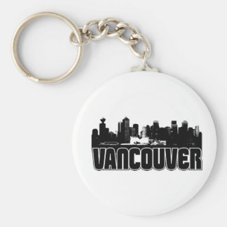 Vancouver Skyline Basic Round Button Keychain