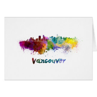 Vancouver skyline in watercolor card