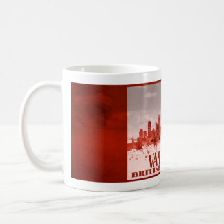 Vancouver skyline with red grunge coffee mug