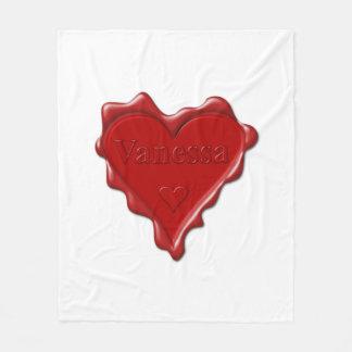 Vanessa. Red heart wax seal with name Vanessa Fleece Blanket