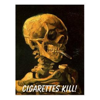 vangogh_skull_cigarette, Cigarettes Kill! Postcard