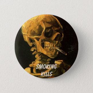 vangogh_skull_cigarette, Smokingkills 2 Inch Round Button